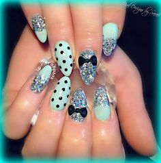 Blue nails designs with bows