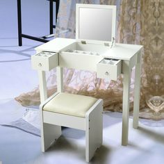 New Wooden Makeup Dressing Vanity Table Set with a Coordinating White Stool