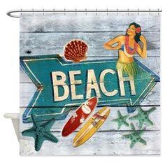 surf board hawaii beach Shower Curtain on CafePress.com