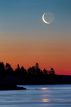 A crescent moon hovers over fir trees on a sloping shoreline with the first light of day creating a beautiful burning red in the sky, while below the flowing waters of the ocean and Kennebec Rivers pass, catching the reflection of the moon. Beautiful Moon, Beautiful Places, Moon Over Water, Espanto, Moon Pictures, Moon Photography, Moon Art, Night Skies, Beautiful Landscapes