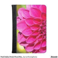 Pink Dahlia Petals Floral Kindle Case