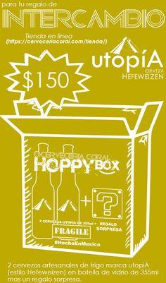 HOPPY BOX de Cerveza utopiA       @CervezaUtopiALink de compra     #cerveceriacoral #cervezaartesanal #hoppybox #intercambio   #CervezautopiA  #CervezautopiA Coral, Surprise Gifts, Glass Bottles