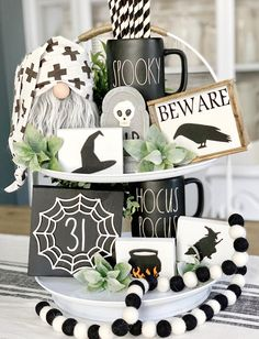 These cute 3d Halloween signs are a perfect addition to your farmhouse and Rae Dunn fall/ Halloween Decor They look great on Tiered trays, shelves, hutches and by themselves. These signs are 3D. Meaning the Wood cut outs are raised. Made in my home and hand painted by me. These are not framed!! This listing is for all the signs pictured Beware (3.5x4.5) 3 small blocks 2.5x3.5 Spider web 31 5.5x5.5