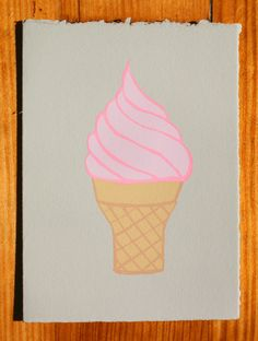 Ice Cream Cone Blank Greeting Card. $5.00, via Etsy.