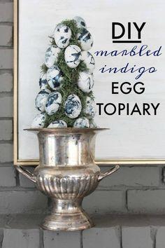 DIY Marbled Indigo Egg Topiary - A fun Easter craft using Dollar Store supplies!