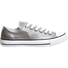 Converse Allstar low-top leather trainers (265 RON) ❤ liked on Polyvore featuring shoes, sneakers, metallic leather shoes, converse shoes, star sneakers, converse sneakers and leather low tops
