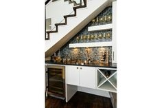 stair design with mini bar with cabinets : Under Stair Design With Mini Bar. bar under stairs ideas,built bar under stairs,house stairs design,mini bar under stair,stair design ideas Bar Under Stairs, Space Under Stairs, Under Basement Stairs, Kitchen Under Stairs, Under Stairs Wine Cellar, Attic Stairs, Small Bars, Basement Remodeling, Basement Ideas