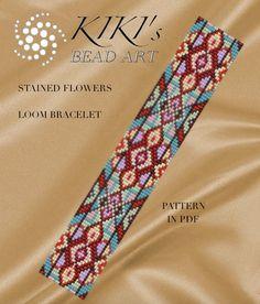 Bead loom pattern Stained flowers LOOM bracelet pattern in