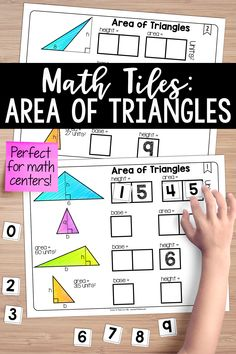 These area of triangles math tiles activate critical thinking and problem-solving skills, all while developing Teaching Critical Thinking, Teaching Math, Triangle Math, Finding Area, Maths Area, Teaching Resources, Teaching Materials, Teaching Ideas, Cooperative Learning