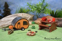 Miniature Tab Camping Set, Fairy Garden Camping Set, Dollhouse Camping Set, Miniature Garden Camping Set, Tab Camper Set, Mini Camping Set