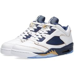 Nike Air Jordan 5 Retro Low 'Dunk From Above' ($205) ❤ liked on Polyvore featuring men's fashion, men's shoes, men's sneakers, mens low top sneakers, mens lace up shoes, navy blue mens shoes, nike mens shoes e mens metallic gold sneakers