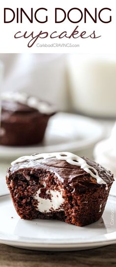 Ding Dong Cupcakes - A rich, moist chocolate cupcake stuffed with creamy marshmallow filling and smothered in a silky chocolate ganache!