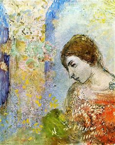 Woman with Pillar of Flowers, 1903 by Odilon Redon. Symbolism. portrait. Private Collection