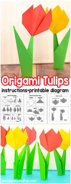 Learn how to make origami flowers with this easy step by step origami tulip tutorial (with a printable folding diagram)