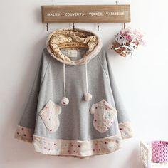 Japanese-Sweet-Lolita-Kawaii-Cute-Pocket-Autumn-Loose-Cloak-Coat-Christmas-GH02