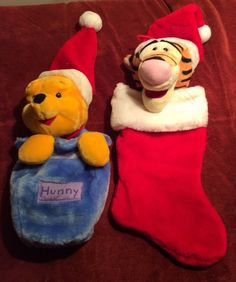 Winnie the Pooh & Tigger Christmas Stockings With Plush Heads Cute! Holiday Ideas, Holiday Decor, Tigger, Winnie The Pooh, Christmas Stockings, Plush, Disney, Cute, Needlepoint Christmas Stockings