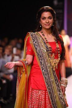 Bollywood actress Juhi Chawla displaying Shringar Mangalsutra collection during collection India International Jewellery Week (IIJW) in Mumbai on August 6, 2013.