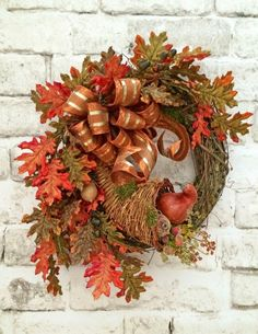 Cornucopia Wreath, Fall Wreath for Door, Thanksgiving Wreath, Thanksgiving Decor, Fall Decor, Autumn Wreath Decor,Fall Door Wreath,Grapevine