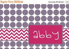 """CHRISTMAS Sale Personalized Placemat - matches kids plate and dishsets 12x18"""""""