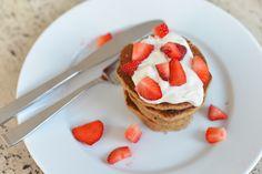 #glutenfree #pancakes with strawberries, greek yogurt and honey