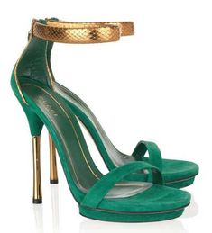 Gucci green & gold sandals | More colourful lusciousness here: http://mylusciouslife.com/photo-galleries/a-colourful-life-colours-patterns-and-textiles/