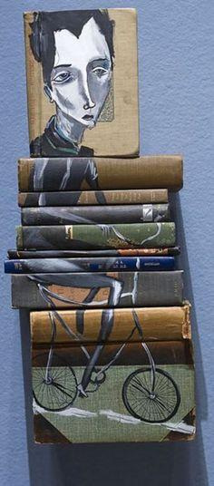 preciosa ilustración utilizando libros antiguos que aun se pueden leer...