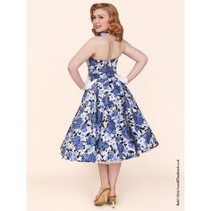 1950s Halterneck Wild Rose Royal Dress from Vivien of Holloway (£89) via Polyvore