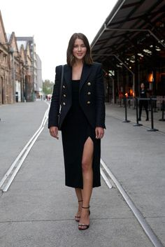 Amazing Fashion Week Australia 2015 Street Style - a sexy black high slit midi dress + tailored blazer and ankle strap heels