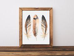 Feathers art print, feathers wall decor, rustic home decor, country home decor, bird wall art, baby nursery decor, A-1147