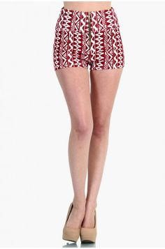 LoveMelrose.com From Harry & Molly | Indian Print Zip Up High Waist Short Pants - Red