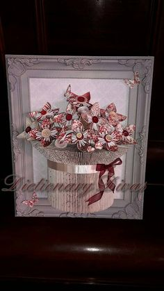 Framed Vase of Everlasting Flowers by DictionaryDivas on Etsy