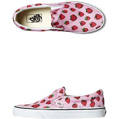 Vans Womens Classic Slip On Strawberries Shoe ($71) ❤ liked on Polyvore featuring shoes, pastel lavender whit, lavender shoes, print shoes, vans shoes, vans footwear and pull on shoes