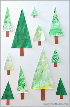 Marbled Christmas Tree Craft for Kids! Use these to decorate gift wrap or homemade cards!~ BuggyandBuddy.com