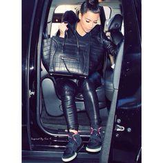 #kim kardashian all black leather, yeezys #bun
