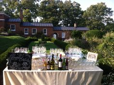 Oatlands Historic House & Gardens- DIY bar signs made by the bride and groom for his & her cocktails; September 2015 outdoor garden ceremony; Barscape by RSVP Catering.