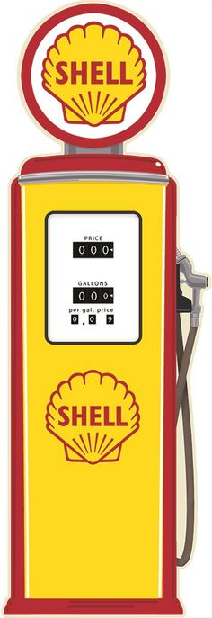 Shell Gas Pump Tin Sign:  Wall style running on empty? Top it off with this embossed, 28-gauge tin Shell gas pump sign.⎜Open Road Brands
