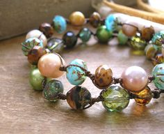 Bohemian knotted bracelet - Mermaid Tears -