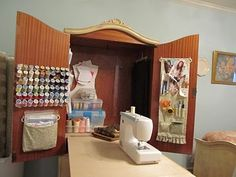 Sewing machine cabinet with fold out table! Fantastic!! sahmknits