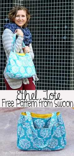 Sewing Patterns Free Ethel Tote-Free Purse Pattern from Swoon Patterns - A roomy, sturdy and stylish take on a modern tote bag! This listing includes one PDF pattern and instructions for sewing the Ethel Bag. Easy Sewing Projects, Sewing Projects For Beginners, Sewing Hacks, Sewing Tutorials, Sewing Tips, Bag Tutorials, Tutorial Sewing, Tutorial Crochet, Sewing Patterns Free