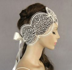 Lacy bridal headpiece fascinator venetian lace by MammaMiaBridal, $68.00