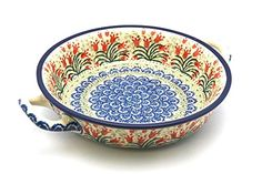 Polish Pottery Baker - Round with Handles - Medium - Crimson Bells *** To view further, visit : bakeware