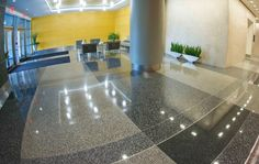 Project Name: Reston Overlook General Contractor: Harvey-Cleary Builders Architects: DBI Architects, Inc. Read more about this project on the Doyle Dickerson Terrazzo Portfolio page http://www.doyledickersonterrazzo.com/portfolio/hospitality/reston-overlook/#terrazzo #flooring #design #contractor #epoxy #terrazzocontractor #hoteldesign #hotels #interiordesign