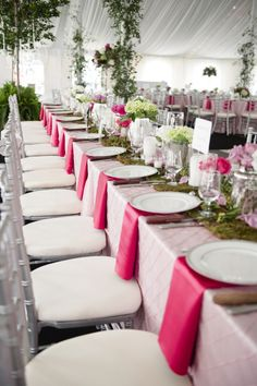 Pink and Green tablescape, moss runner // photo by http://justindemutiisphotography.com