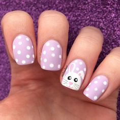 🐇🐣 🌸 Easter Bunny for I don't know why, I love to combine my Easter manis with dots! Easter Nail Designs, Easter Nail Art, Nail Designs Spring, Nail Art Designs, Nails Design, Bunny Nails, Daisy Nails, Christmas Nail Art, Holiday Nails