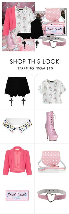 """Mettaton (Undertale) Inspired"" by mintsaway ❤ liked on Polyvore featuring Chicnova Fashion, Monki, Damsel in a Dress, shu uemura, Pink, undertale and mettaton"