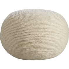 wool wrap pouf - CB2 - $129 - w20 D20 H14 - Ropey bands of boiled wool are twisted and wrapped in a mesmerizing coil with soft organic texture.  Dense poly-filled round is substantial for sear/ottoman duty.