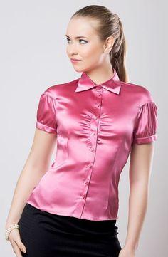 Women in Blouse❤ Silk Satin Dress, Satin Shirt, Satin Top, Satin Dresses, Red Satin, Sexy Blouse, Blouse And Skirt, Blouse Outfit, Satin Underwear