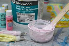 DIY Faux Frosted Cake made from styrofoam and tile adhesive!