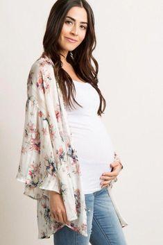 313e901bc25 Ivory Floral Chiffon Peplum Maternity Kimono. Pregnancy Tips For First ...