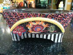 Colored slip Paisley decoration.  Hand built ceramic container.